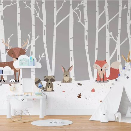 Forest animals nursery paper photo wallpaper